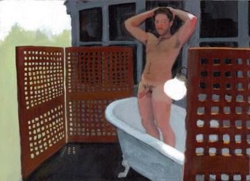 Naked Erect Man Standing on a Bathtub