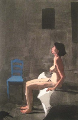Nude woman sitting on a bed