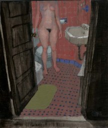 Cropped view of standing nude woman in bathroom