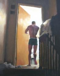 Half-Naked Man Walking into Bedroom