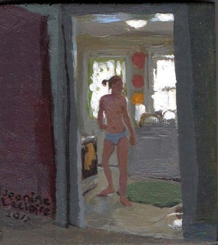 View of standing nude woman