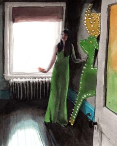 Woman with a Green Dress Standing Next to Green Deer