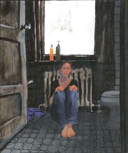 Clothed woman lying on bathroom floor; no shoes