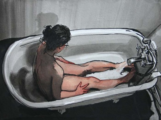 Sarah Lying in Bathtub While it Fills