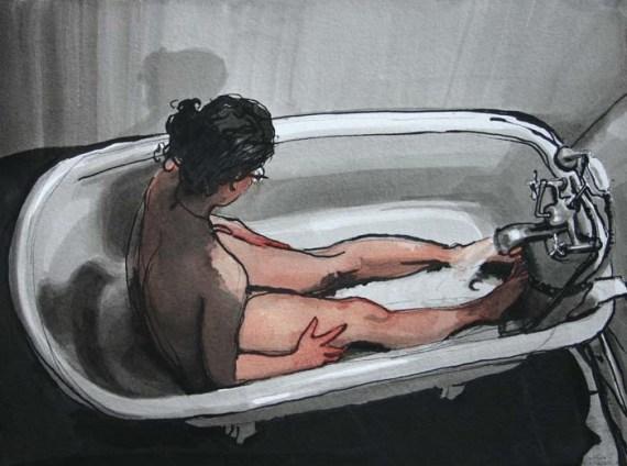 Sarah Lying in Bathtub While it Fills