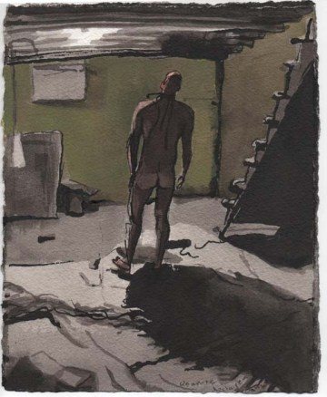 Silouette of a Man in the Basement