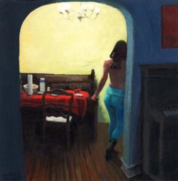 Woman Walking in dining room
