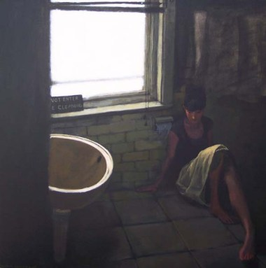 Woman in a Skirt Lying on Floor