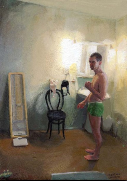 Man in Green Underwear in a Bathroom