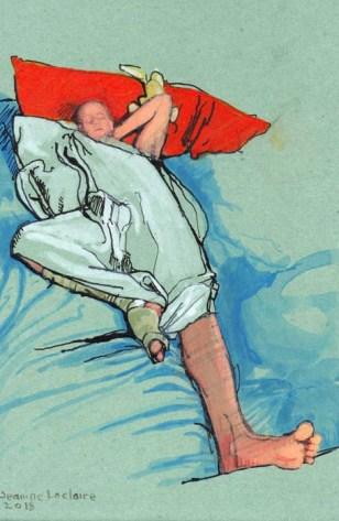 Pen, acrylic, and ink drawing of Nick sleeping
