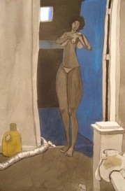 Nude Standing woman next to a room