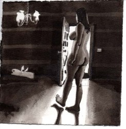 Silouette of a Naked Woman with an Open Door