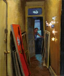 A view of a hallway with paintings and stars