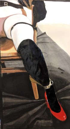 Cropped Image of a Woman's Leg. The Woman is Tied Up to a Chair