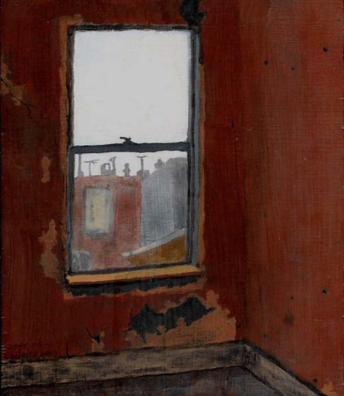 Corner of a red room with a view of Philadelphian houses
