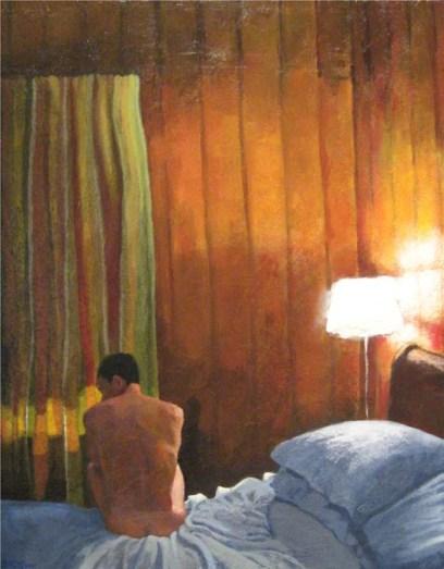 Nude man in his bedroom