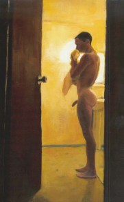 Nude Erect Man in the Bathoom