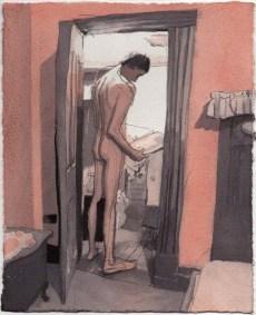 Naked Standing Man with Door Open