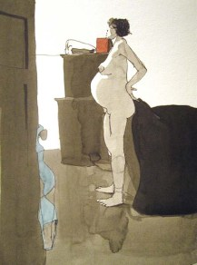 Nude standing pregnant woman