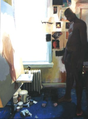 Naked man staring at a painting