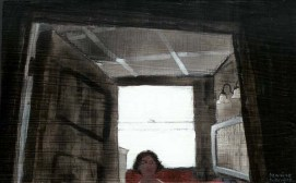 Cropped View of Woman staring out of room