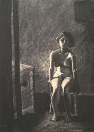 Nude woman sitting on a chair