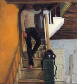 Clothed Man Walking Down Stairs