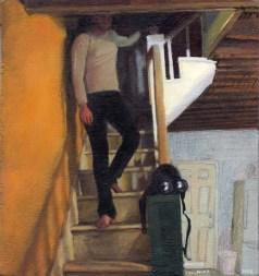 Man man walking down stairs