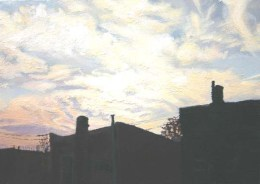 Silhouette of buildings with skyline