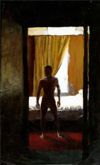 Silhouette of a naked man in a bedroom
