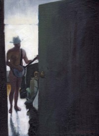 Naked Man with a Hat Playing the Guitar Behind a Door