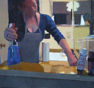A Maid Cleaning with a Tub of Lube on the Counter