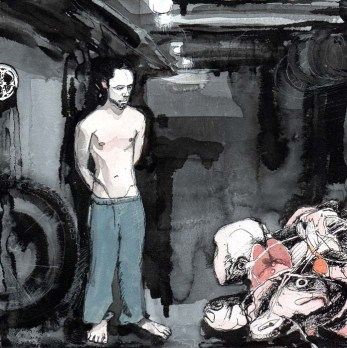 White Man in Sweatpants Staring at a Pile of Dead Animals