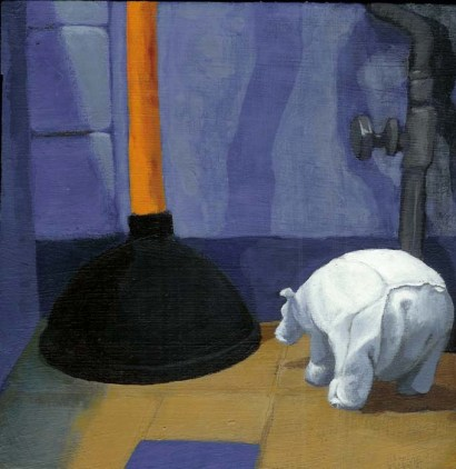 Polar bear toy next to a toilet plunger