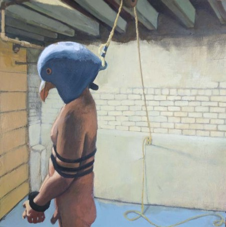 Man Tied Up with a Bird Head Mask