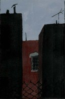 Back-view of the sky and three buildings