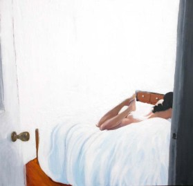 Woman Lying Naked on a White Bed