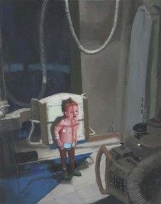 Concerned Little Boy in a Room With Appliances