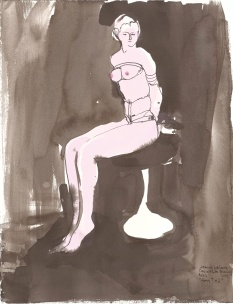 """Amy Tied Acrylic and ink on watercolor paper 15"""" x 11.5"""""""