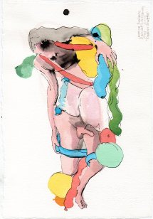 """Balloon Snuggle Acrylic and ink on watercolor paper 7.5"""" x 11"""""""