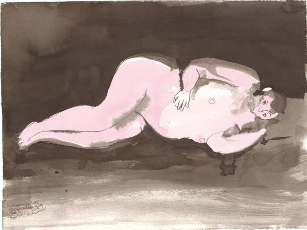 """Beautiful Pink Woman Acrylic and ink on watercolor paper 11.25"""" x 15"""""""