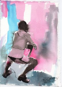 """Bladerunner Glam Acrylic and ink on watercolor paper 11.75"""" x 8.5"""""""