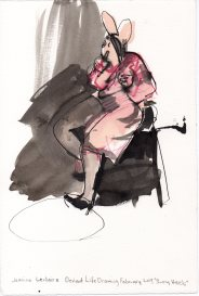 """Bunny Heels Acrylic and ink on watercolor paper 11.25"""" x 7.5"""""""