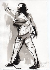 """Cord Gesture Ink on watercolor paper 11.25"""" x 7.75"""""""