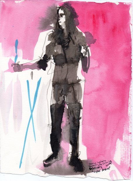 """Cyber Neon Acrylic and ink on watercolor paper 11"""" x 8.5"""""""