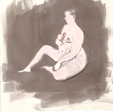 """Dildo Comfort Acrylic and ink on watercolor paper 10"""" x 10.25"""""""