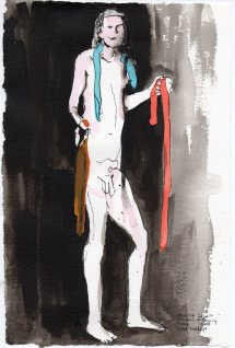"""Four Snakes Acrylic and ink on watercolor paper 11.25"""" x 7.5"""""""