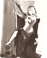 """Her Power Ink on watercolor paper 15"""" x 11.25"""""""