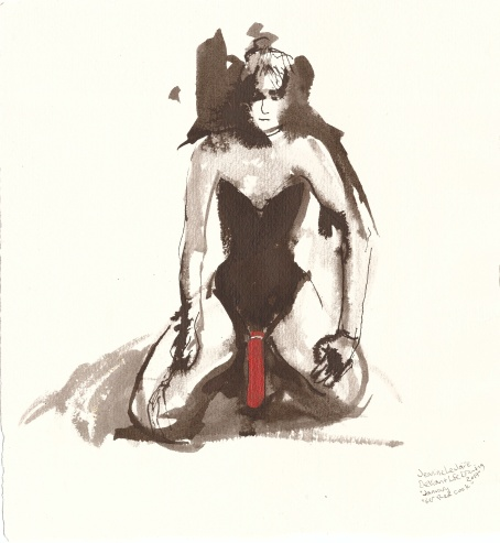 """Her Red Cock Acrylic and ink on watercolor paper 12"""" x 11"""""""