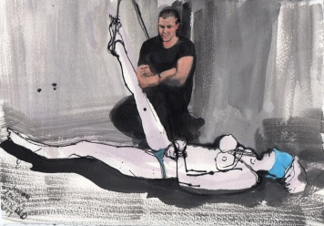"""Josh and Amy Acrylic and ink on watercolor paper 7.5"""" x 10.75"""""""